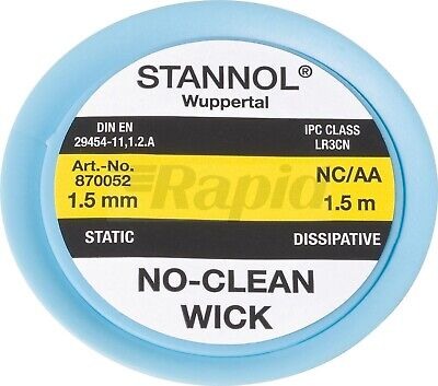 Stannol Desoldering Braid 1.5mm 1.5m braided wick for solder removal