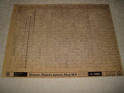 VOLKSWAGEN SHARAN, SHARAN SYNCRO MOD.96 on PARTS MICROFICHE FULL SET OF 1 1999