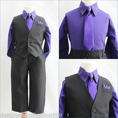 Solid Black Purple Eggplant boy 4 pc set vest and tie wedding party formal suit