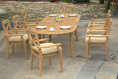 """Granada Grade-A Teak 7pc Dining 94"""" Oval Table 6 Stacking Arm Chair Set New"""