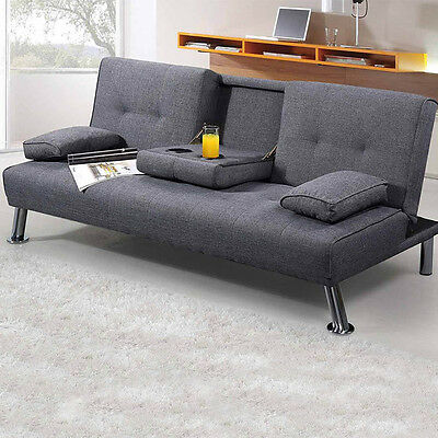 Modern Stylish Fabric Sofa Bed Lime Green / Grey Upholstered Compact 3 Seater