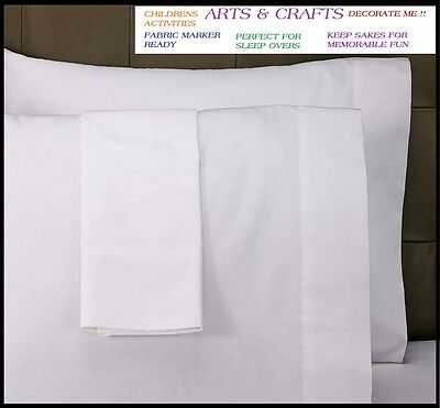 6  New White Standard Pillow Cases Covers 20''x30'' Arts Crafts Slumber Party