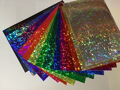 "Holographic Crystal Sign Vinyl Sample Pack, 12 Sheets, 8"" x 12 Inch HoloCrystal"