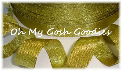 7/8 Gold Shimmy Shimmer Glitter Sparkle Bling Princess Cheer Grosgrain Ribbon