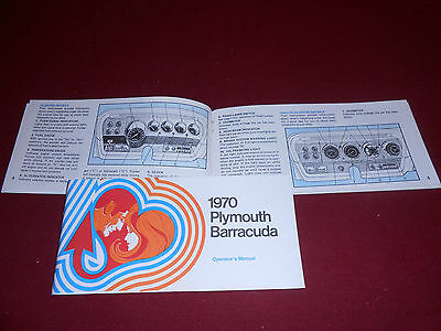 1970 PLYMOUTH BARRACUDA OWNER OPERATOR'S MANUAL, INSTRUCTIONS, with COLOR INSIDE