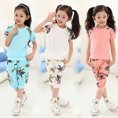 Girls Kid Short Sleeve Floral T-shirt Top and Pants Outfit 2PCS Set Suit 6-11Y