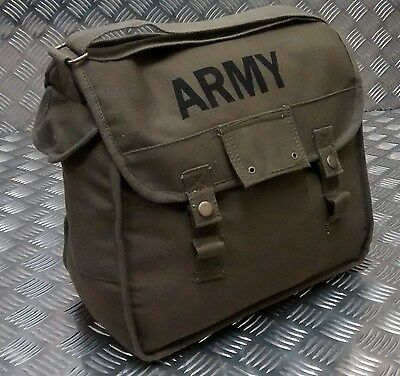ARMY Style Canvas / Haversack / Satchel / Festival Shoulder Bag Green - NEW