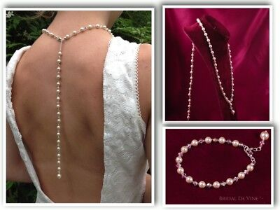 Sophisticated Bridal Backdrop Jewellery Set - Backless Dress - Pearls & Crystals