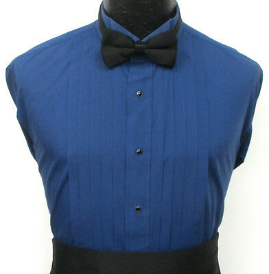 Blue Pleated Front Wing Collar Tuxedo Dress Shirt Prom Halloween Costume Theater