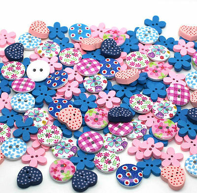 150x15mm MIXED PINK AND BLUE WOODEN BUTTON SCRAPBOOKING SEWING CRAFT CARD MAKING