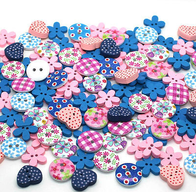 150x15mm MIXED PINK & BLUE WOODEN BUTTON SCRAPBOOKING SEWING CRAFT CARD MAKING