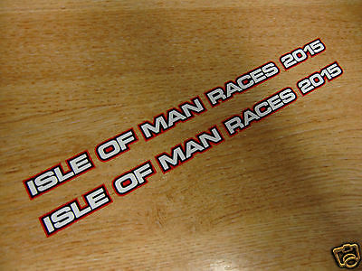 2 x isle of man races 2015 stickers - 200x10mm - visor decals - RED/BLACK