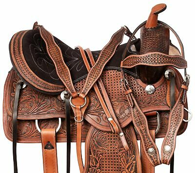 16 Western Barrel Racing Pleasure Trail Horse Leather Show Bling Saddle Tack