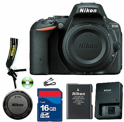 Nikon D5500  D SLR Camera - Black (Body Only)- CellTime Kit with 16 GB SD Card