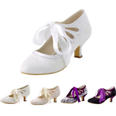 HC1521 Closed Toe Mid Cone Heel Ribbon Tie Lace Satin Dress Wedding Bridal Shoes