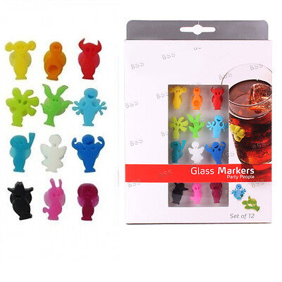 Set Of 12 Markers Silicone Party People Bottle Drink Cup Wine Glass Charms