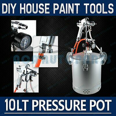 10 Lt Pressure Pot Set Spray Gun Tank Hose Gauge DIY House Paint Air Tools