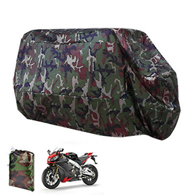 Motorcycle Bike Scooter Waterproof UV Dust Protector Rain Cover Camouflage XXL