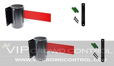 "Wall Mount Stanchions, 2 Pcs Package Aisleway 156"" Red Belt, Vip Crowd Control"