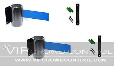 "2 Pcs Wall Mount Stanchions, 96"" Blue Belt, Vip Crowd Control"