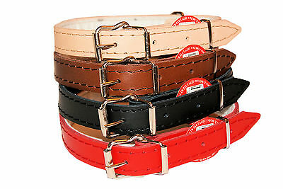 DOG PUPPY REAL LEATHER COLLARS RED BLACK BROWN NATURAL small medium large