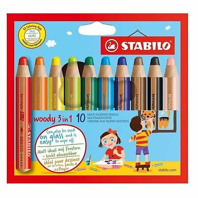 Stabilo Woody 3 in 1 Colouring Pencils - Pack of 10