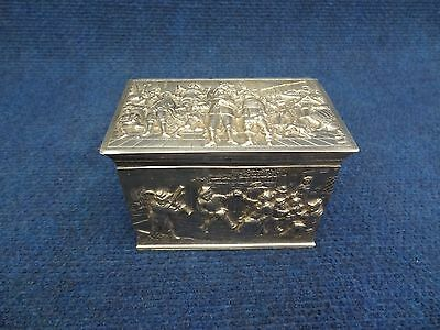 Silver Tea Caddy Box 835/1000 Dutch With Breughel Scenes All Sides Perfect