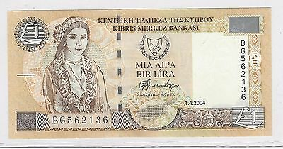 2004 Cyprus Banknote***1 Pound***crisp Uncirculated Condition***geo