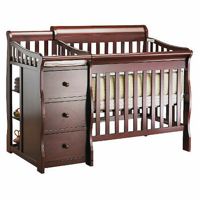 New Hardwood Wood Dark Brown Crib Changing Table Drawers Mattress Spacesaver
