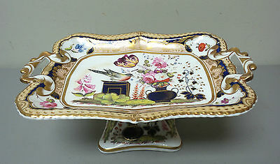 LOVELY 19th C. FRENCH OLD PARIS ENAMELED & GILT DECORATED PORCELAIN COMPOTE