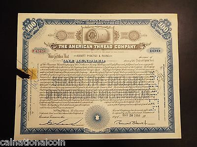 The American Thread Company Stock Certificate 1954