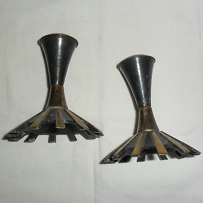 vintage Made in Israel brass candle holders, vertigris green finish