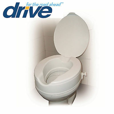 Raised Toilet Seat With Lid  Elevating Toileting Disability Aid.  Three Heights