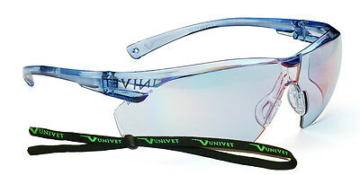 Univet 505 Blue Lens Safety Glasses With Neck Cord Cycling 9020F (505U.00.00.37)