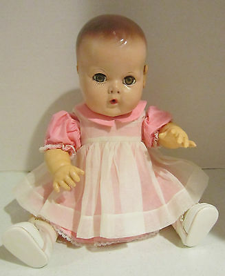 """Vint 15"""" Effanbee DY-DEE-BABY compo & rubber -molded hair - brown eyes - VGC"""