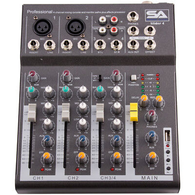 Seismic Audio - Slider 4 - 4 Channel Mixer Console with USB Interface NEW