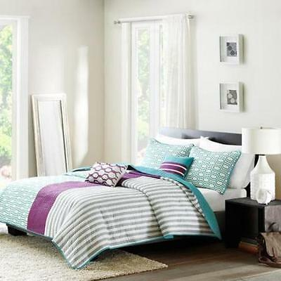 Teen College Reversible Purple Teal Stripe 5 Piece Full Bedding Coverlet Set