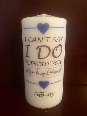 """6"""" BRIDESMAID/MAID OF HONOR Candle, Wedding, Anniversary, Unity, Marriage"""