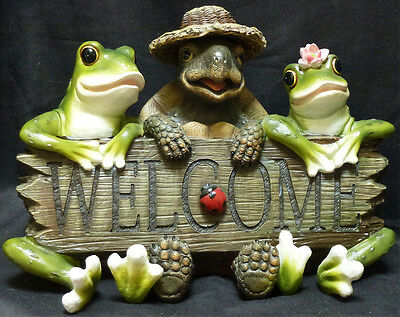 """LUCKY WELCOME  Turtle / Frog statue figure H11"""" x L16.25"""""""