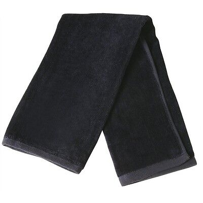 Golf Towel Hook Plain Cotton Terry Velour Black Gym Mens Womens Sport Hand New