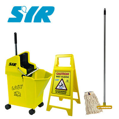 SYR 11 Litre Lady Bug Mop Bucket on Wheels Set Handle, x1 Head, Wet Floor Sign