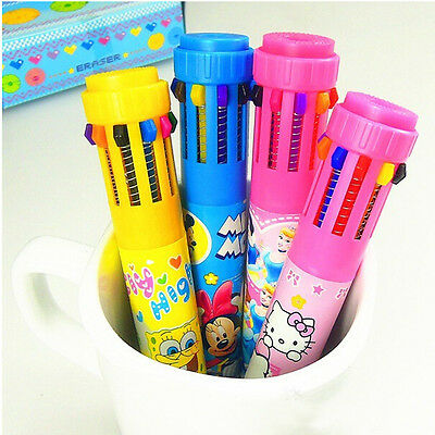 1pc Cute Cartoon Girl Multicolor 10 Colours Ball Point Pen Office Stationery