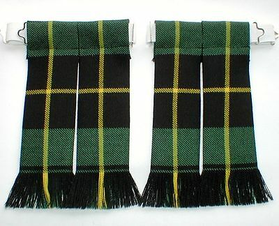 Kilt Hose Sock Flashes Wallace Ancient Hunting Tartan Worsted Wool Fringed Kilts