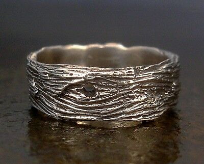 Driftwood Unisex-Mens Ring, Sterling Silver Wood Grain Wide Band, Sz Sm - Large