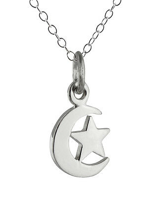 Crescent Moon and Star Necklace - 925 Sterling Silver - Charm Celestial Moon NEW