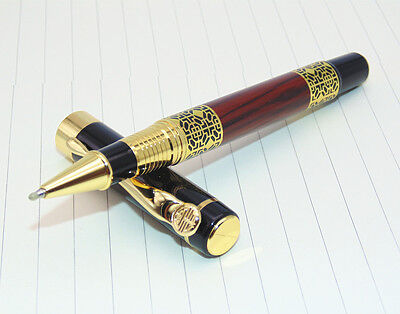 Luxury Golden carving Mahogany paint Medium Nib Roller Ball Pen New