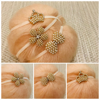 Rhinestone Crown Tiara Elastic Headband Girl Baby Photo Pro Wedding Christening