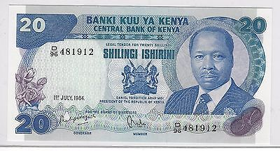 1984 Kenya Banknote***20 Shillings***crisp Uncirculated Condition***efo