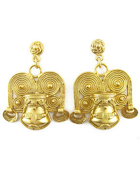 ACROSS THE PUDDLE 24k GP Pre-Columbian Tairona Shaman with Crown Dangle Earrings
