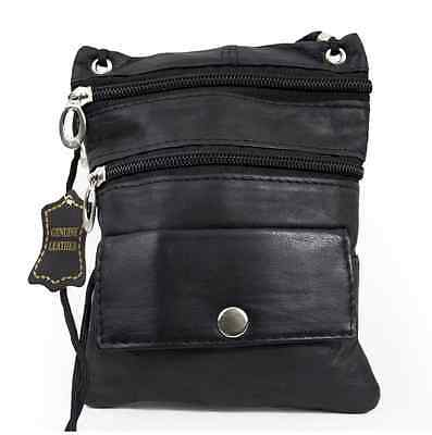 Black Genuine Leather Passport ID Holder Neck Pouch Travel Cross Body Strap Bag